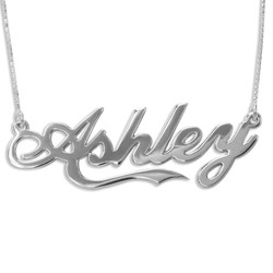Personalized 14K White Gold Coca Cola Font Name Necklace product photo