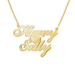 18k Gold-Plated Sterling Silver Two Names & Heart Pendant product photo