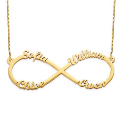 Infinity 4 Names Necklace - 14K Gold product photo