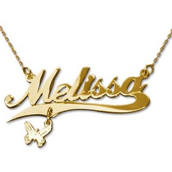 14k Gold Charm Name Necklace product photo