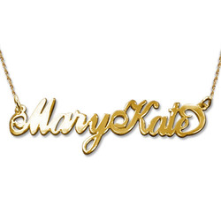 Double Thickness Two Capital Letters 14k Gold Carrie-Style Name Necklace product photo