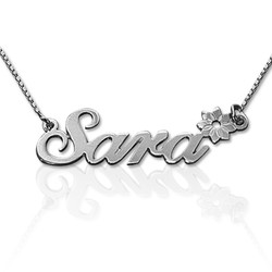 Sterling Silver Flower Name Necklace product photo