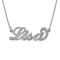 Sparkling Diamond-Cut Sterling Silver Carrie-Style Name Necklace product photo