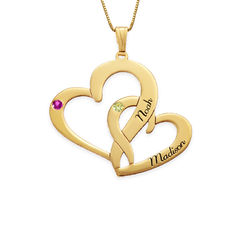 Engraved Two Heart Necklace - 14k Gold product photo