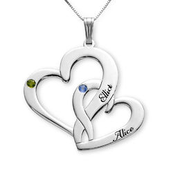 Engraved Two Heart Necklace in 10K White Gold product photo