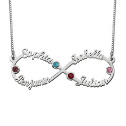 Infinity 4 Names Necklace with Birthstones product photo