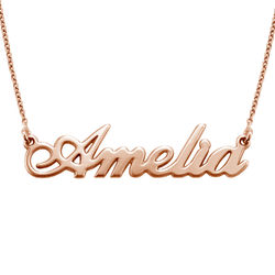 Small Classic Name Necklace in 18k Rose Gold Plating product photo