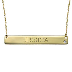 14K Gold Bar Necklace with Diamond & Engraving product photo