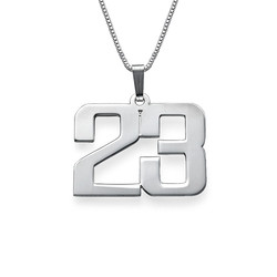 Men's Personalized Number Necklace in Sterling Silver product photo