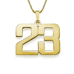 Men's Personalized Number Necklace in Gold Plating product photo