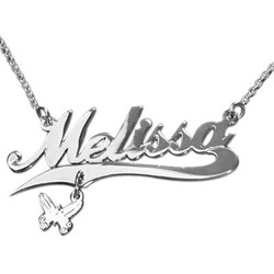 Double Thickness Silver Charm Name Necklace With Rollo Chain product photo