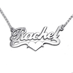 Double Thick Sterling Silver Heart Name Necklace With Rollo Chain product photo