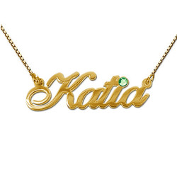 14k Gold and Swarovski Crystal Name Necklace product photo