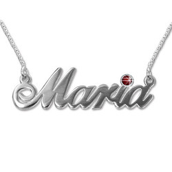 14k White Gold and Birthstone Necklace product photo