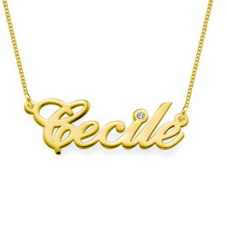 14k Gold and Diamond Name Necklace product photo