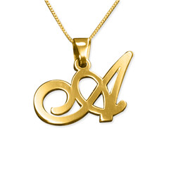 14K Solid Gold Initials Pendant with Your Choice of Letter product photo
