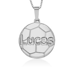 Sterling Silver Personalized Soccer Pendant product photo