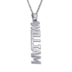 Vertical Design Silver Name Necklace product photo