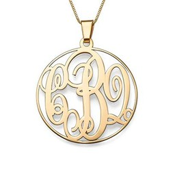 14K Solid Gold Monogram Necklace product photo