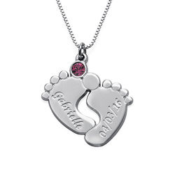 Engraved Baby Feet Jewelry with Birthstone product photo