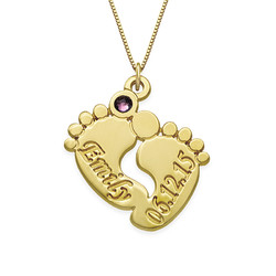Personalized Baby Feet Necklace in 14K Gold product photo