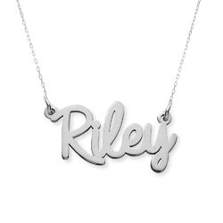 Personalized Cursive Name Necklace in 10K White Gold product photo