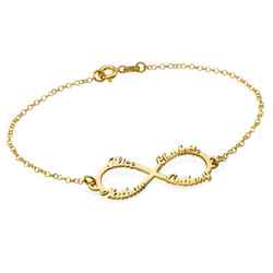 Infinity 4 Names Bracelet with Gold Plating product photo