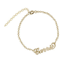 18k Gold-Plated Sterling Silver Carrie-Style Name Bracelet / Anklet product photo