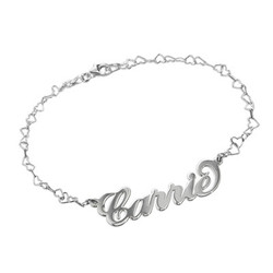 Carrie Style Name Bracelet / Anklet With a Heart Chain product photo