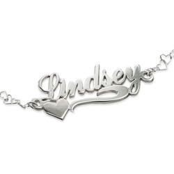 Side Heart Silver Name Bracelet / Anklet product photo
