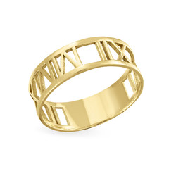 14K Gold Roman Numeral Ring product photo