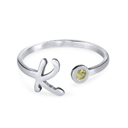 Initial Open Ring with Birthstone product photo