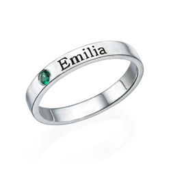Stackable Birthstone Name Ring - Sterling Silver product photo