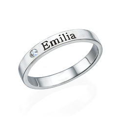 Stackable Name Ring in Sterling Silver with Diamond product photo