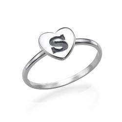Sterling Silver Heart Initial Ring product photo