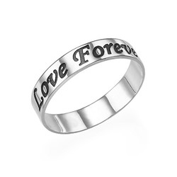 Promise Ring - Rounded Polished Script Sterling Silver Engraved Ring product photo