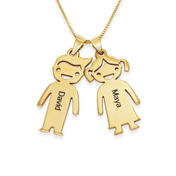 Mother's Necklace with Children Charms in 10K Yellow Gold product photo