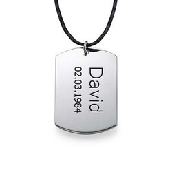 Sterling Silver Mens Dog Tag Necklace product photo