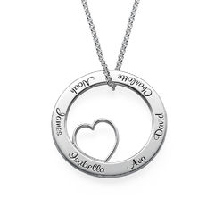 Family Love Circle Pendant Necklace - Sterling Silver product photo