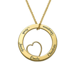 Family Love Circle Pendant Necklace - 18k Gold Plating product photo