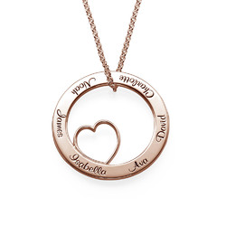 Family Love Circle Pendant Necklace - 18k Rose Gold Plating product photo
