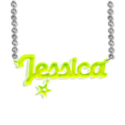 New York Style Color Name Necklace with your choice of charm product photo