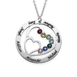 Heart in Heart Birthstone Necklace for Moms - Sterling Silver product photo