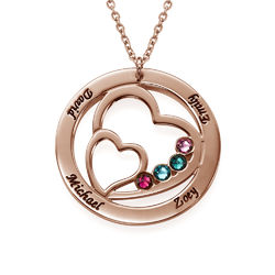 Heart in Heart Birthstone Necklace for Moms - Rose Gold Plating product photo