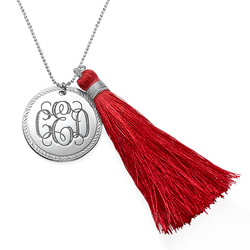 Tassel Jewelry - Silver Engraved Monogram Necklace product photo