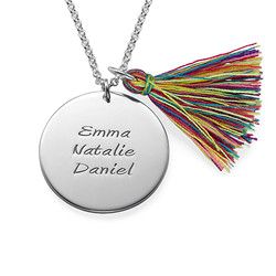 Sterling Silver Engraved Disc and Tassel Necklace product photo