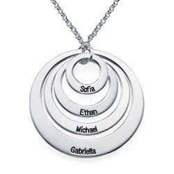 Four Open Circles Necklace with Engraving in Sterling Silver product photo