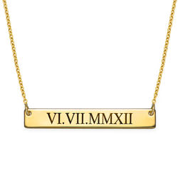 Roman Numeral Bar Necklace with Gold Plating product photo