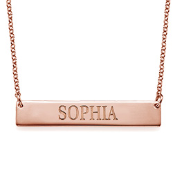 18k Plated Rose Gold Bar Necklace with Engraving product photo