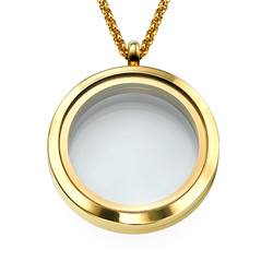 Gold Plated Round Locket Necklace product photo